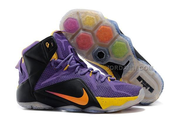 Mens Nike Lebron 12 Yellow Black Grey Shoes Outlet Online