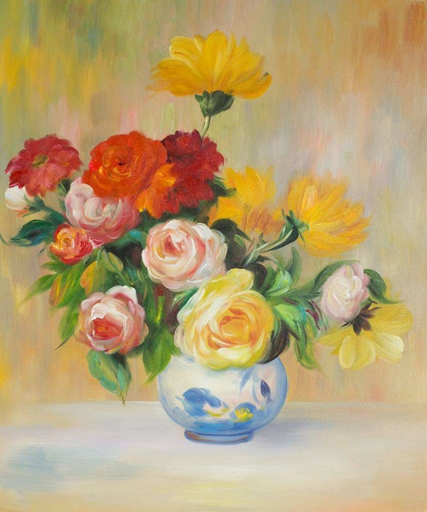 Vase Of Roses And Dahlias Flower Drawing Realistic Drawings Floral Painting
