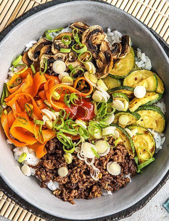 Korean Beef Bibimbap With Zucchini Mushrooms And Carrot Recipe