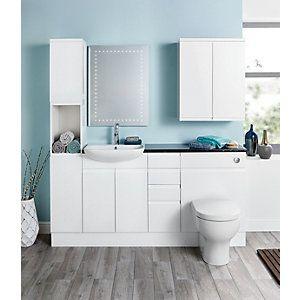 Wickes Hertford White Gloss Floor Standing Vanity Unit ...
