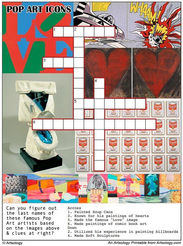 Printable Pop Art Icons Crossword Puzzle Art History Lessons