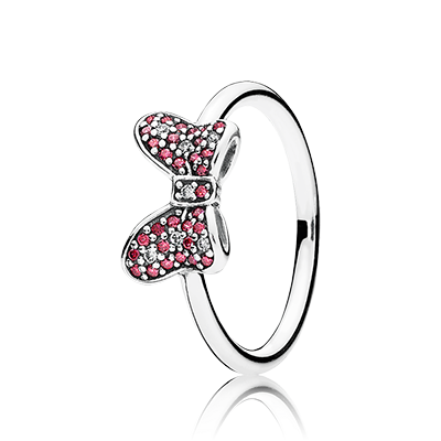 PANDORA | Disney Minnie bow silver ring with red and clear cubic zirconia