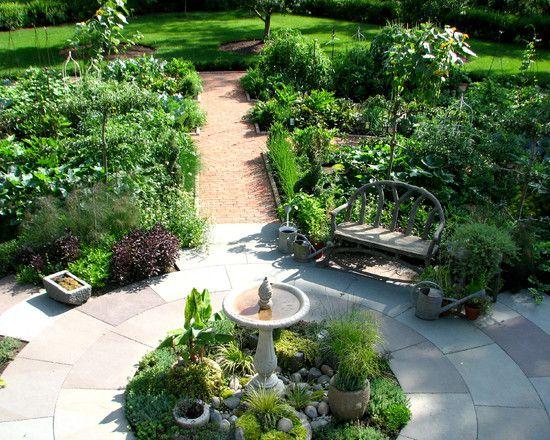 Various Bird Bath Designs : Traditional Landscape Potager Garden Bird Bath  In Middle Of A Spice Garden In Expaded Butterfly Garden Point With Bird Bath  ...