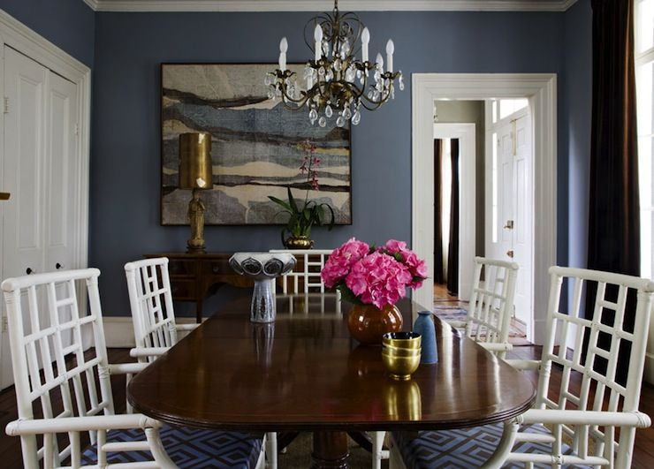dining rooms - david hicks la fiorentina - blue & brown cushions