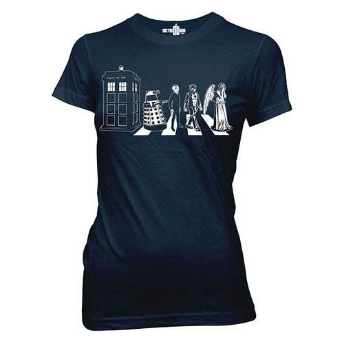 Doctor Who does Abbey Road! This Doctor Who Detailed Street Crossing T-Shirt shows some of your favorite Doctor Who villains and characters walking across Abbey Road, just like the Beatles. This great t-shirt shocwcases the TARDIS, a Dalek, the Silence, a Cyberman, and a Weeping Angel!   This is the Junior sized version of the t-shirt which is meant for women and children.