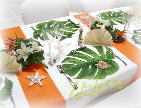 set de table feuille exotique anniversaire lucille pinterest set de table exotique et table. Black Bedroom Furniture Sets. Home Design Ideas