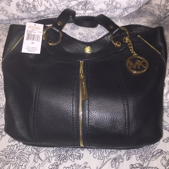d24c82732bd3 Today only-discount on Michael Kors bag, new Authentic MK medium black  leather shoulder tote, Moxley style. Gold hardware, zipper accents.