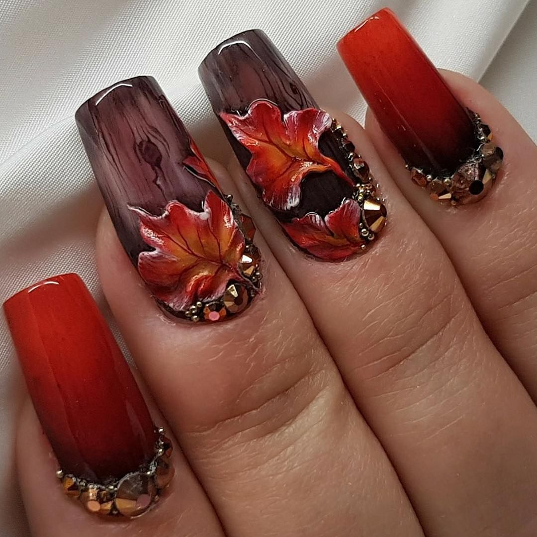 Thanksgiving nails inspiration is a must. Such attributes of the fall as  rain, wine - 60 Festive Thanksgiving Nails Designs You Should Try 2017