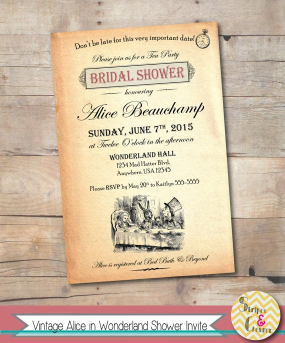 Alice In Wonderland Bridal Shower Invitation By StripesAndChevron