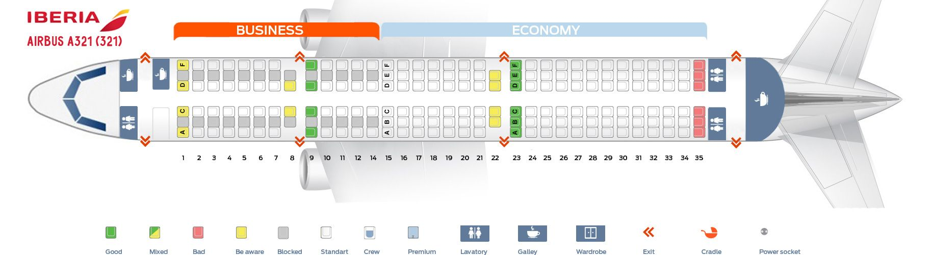 Seat Map And Seating Chart Iberia Airbus A321 200 Seating Plan Airbus Airbus A321 Seating Chart