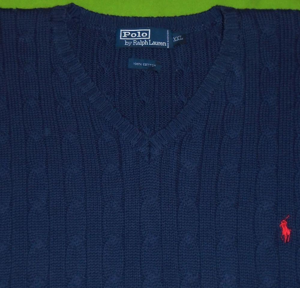 c813c9ae9 Polo Ralph Lauren Navy Blue Cable Knit Vest Red Pony Men size 2XL XXL   PoloRalphLauren  SweaterVest