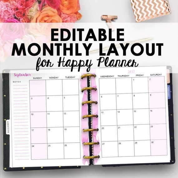 Happy Planner Calendar : Editable monthly happy planner pages use these
