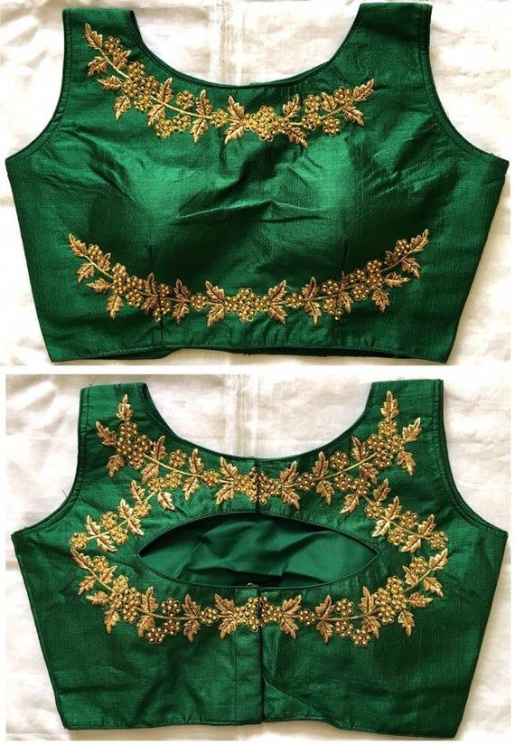 Photo of Beautifully Readymade Floral New Banglori Silk Wedding Saree Stitched Embroidery Blouse Crop Sari Top Work For Women