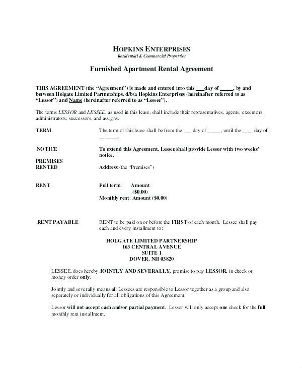 Renters Lease Agreement Template Rental Form Apartment