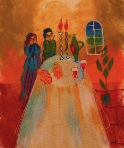 Shabbat by Chagall Good Shabbos, Jewish Celebrations, Jewish Girl, Marc Chagall, Rabbi, Torah, Sabbath, Kitsch, Festivals