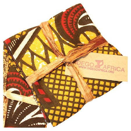 Textile wine coaster with a tribal-inspired motif. Made by artisans in Rwanda.
