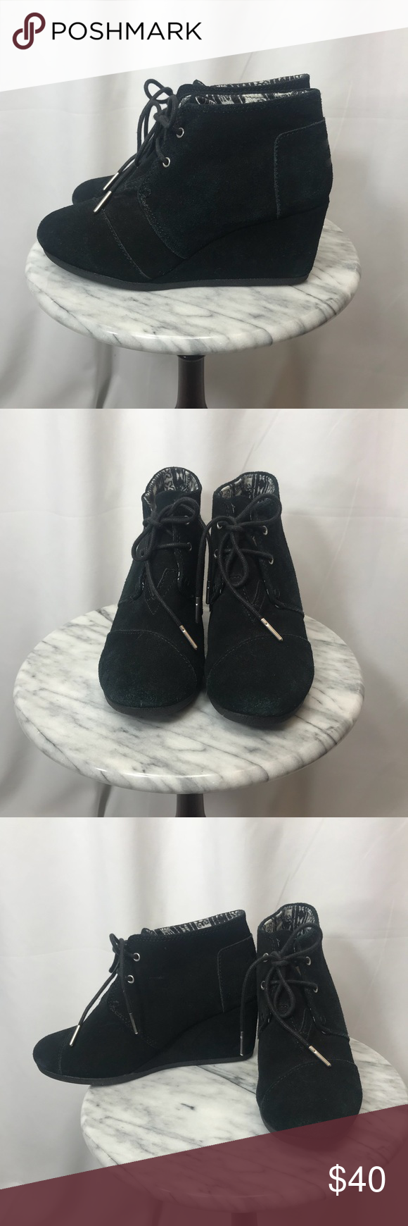 Toms Wedge Booties Toms Wedge Booties with lace up closure.   Side 7.5 Toms Shoes Wedges #tomwedges