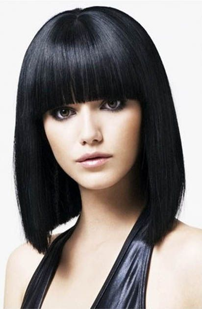 Straight Bob Hairstyle Blunt Bangs Medium Hair Styles Hair