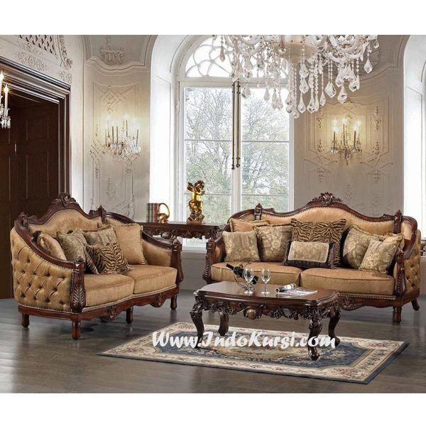 Jual set kursi tamu sofa kayu jati desain kursi tamu mewah for Sofa yang sesuai untuk ruang tamu kecil