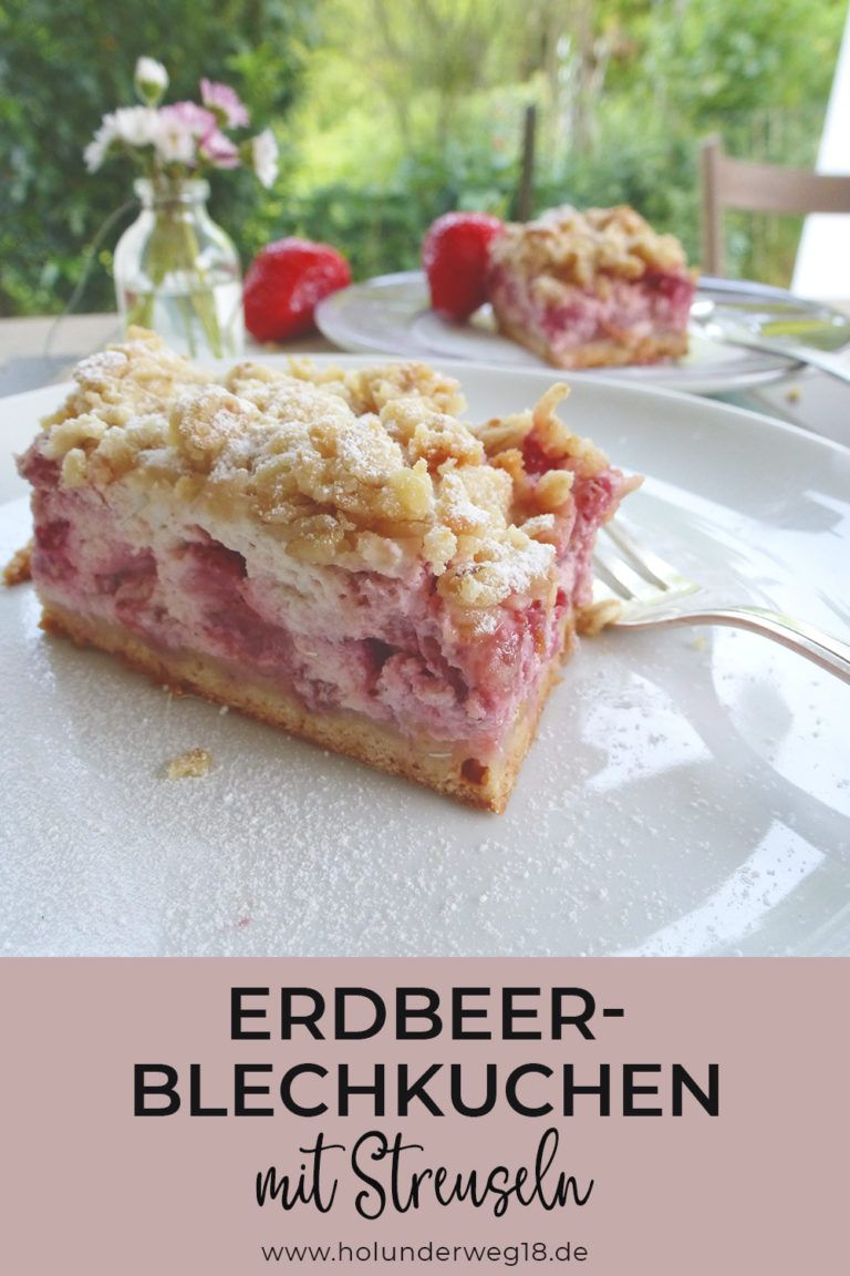Erdbeerstreuselkuchen mit Quark - Blechkuchen Rezept