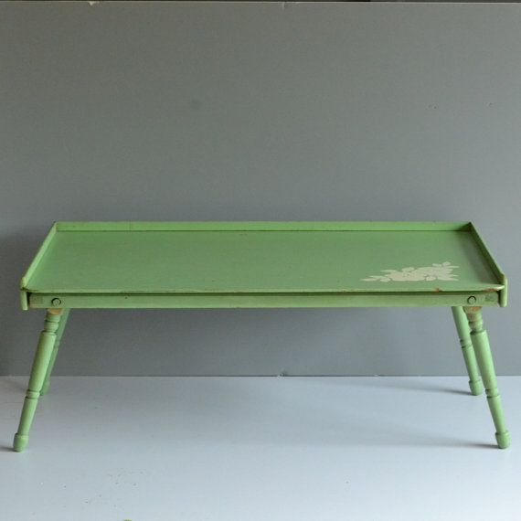Vintage Breakfast Tray Green Tray Bed Tray By Bogiebacallvintage Bed Tray Breakfast Tray How To Make Bed