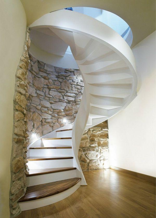 wendeltreppen weiß natursteine edles holz Architektur u2013 moderne - interieur in weis und holz modern design