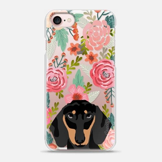1b4ad8e710 Dachshund dog breed pet portrait cute florals trendy hipster dog gifts  ideas must have transparent iphone6 cases - Snap Case