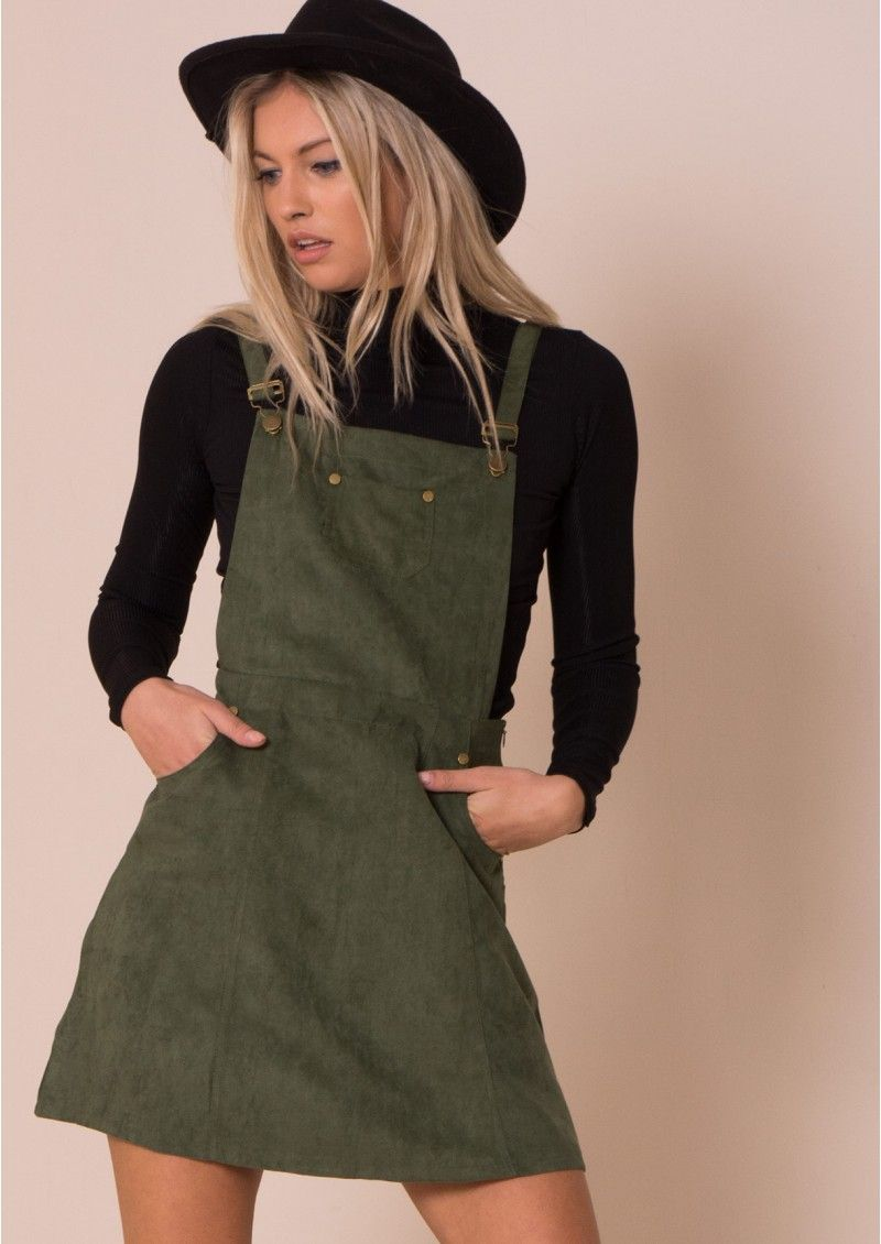 0743183730a Alita Khaki Suede Pinafore Dress