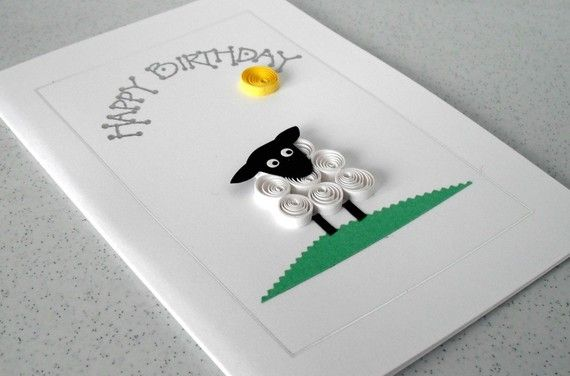 Sheep birthday card quilled quilling by PaperDaisyCardDesign,
