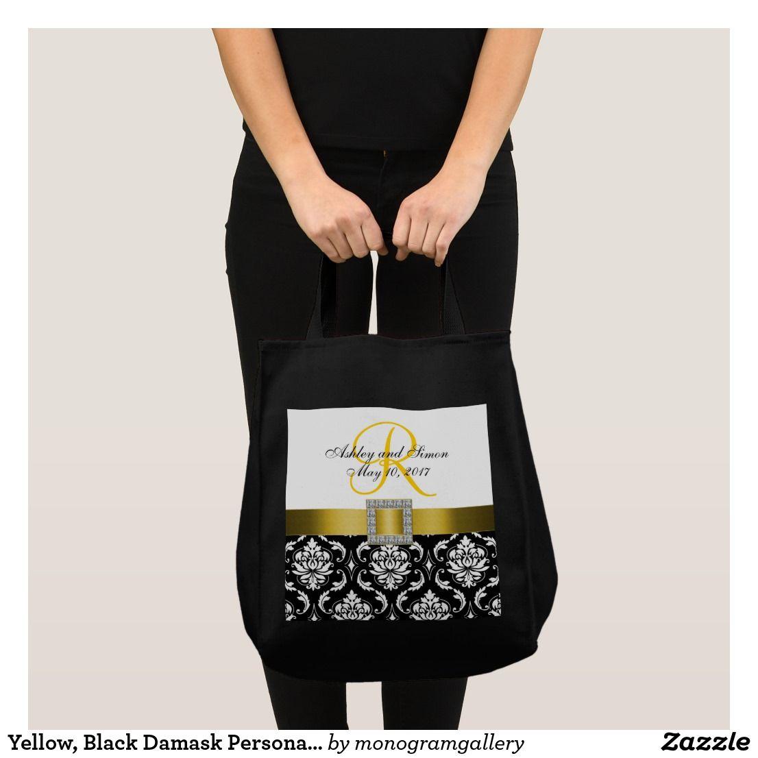 yellow black damask personalized wedding tote bag wedding tote