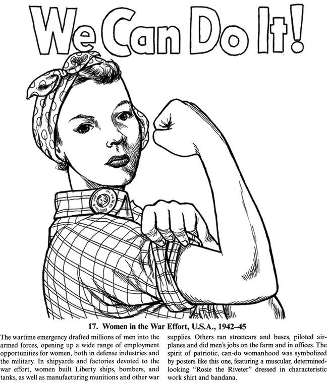 Freedoms Hero Badge Rosie the Riveter Coloring Page