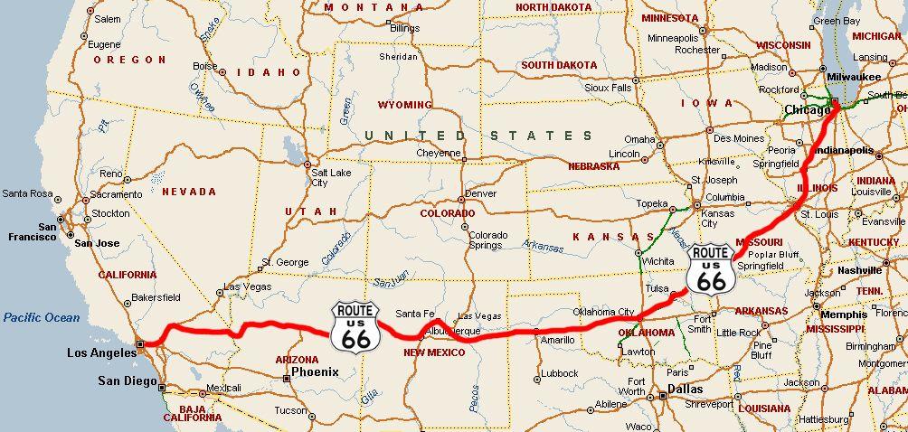 Essa é A Rota Que Inspirou O Filme Carros Da Disney ROUTE - Route 66 map usa