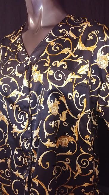 Vanity Fair nightgown short sleeve black gold sissy paisley silky polyester XL #VanityFair #nightgown #silky #polyester #sissy #sale #ebay #ebayseller
