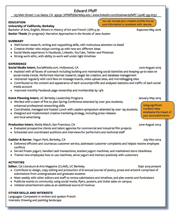 Example Of Production Intern Examples Resume Cv