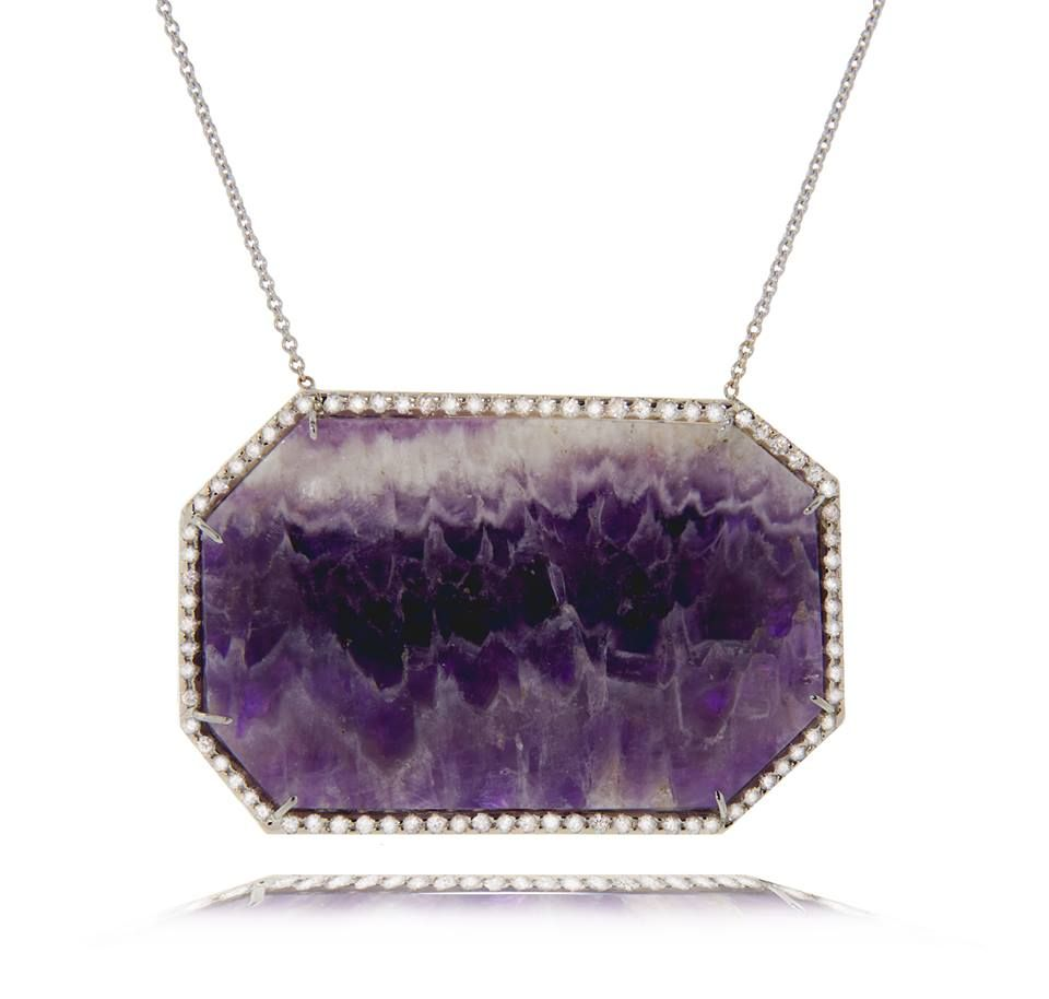 KMD - stunning Amethyst & Diamond Pendant Necklace