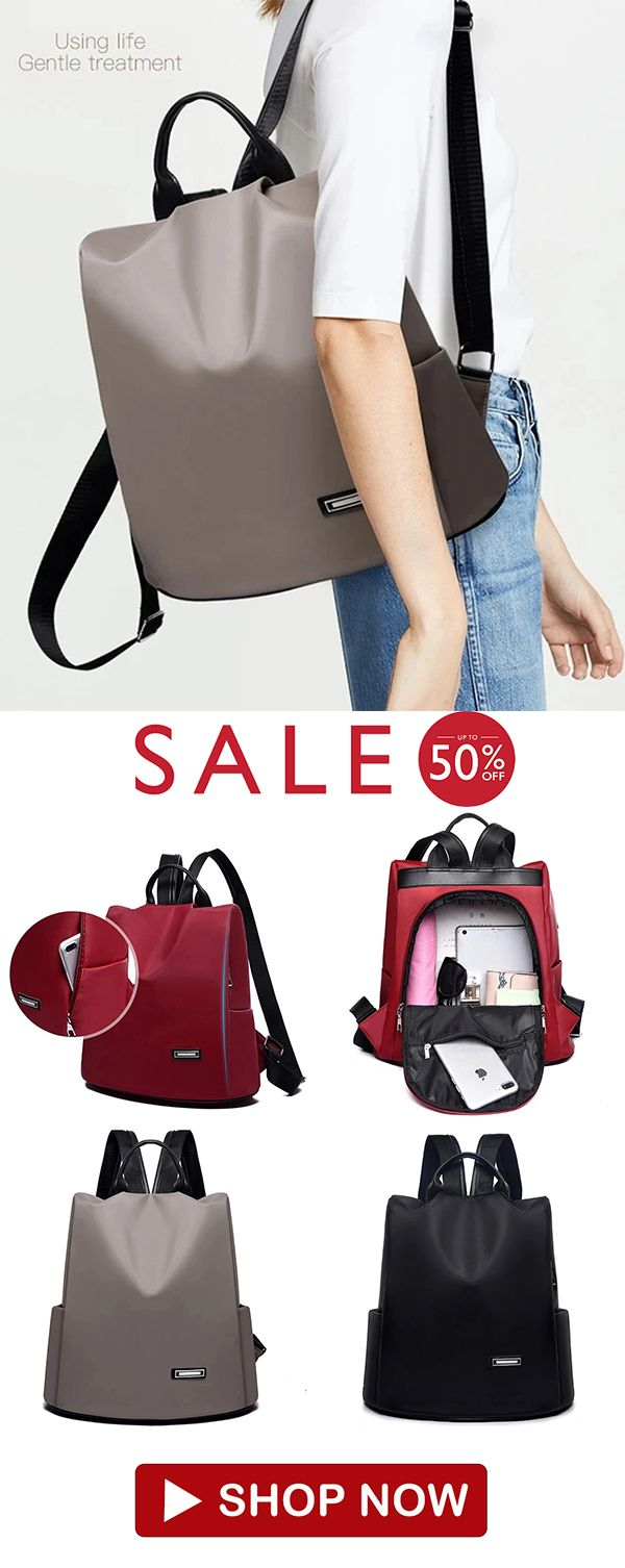 Women's Oxford Cloth Anti-theft Waterproof Solid Color Backpack
