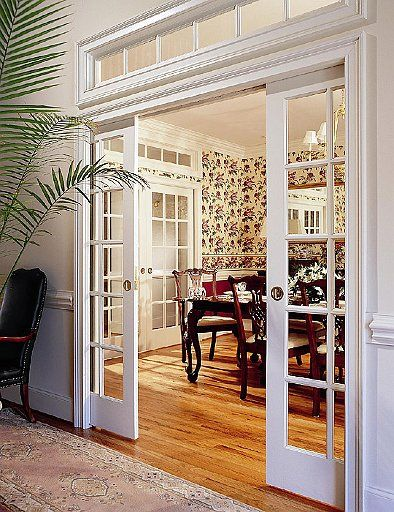 Dining Room Pocket Doors And A Transom Window