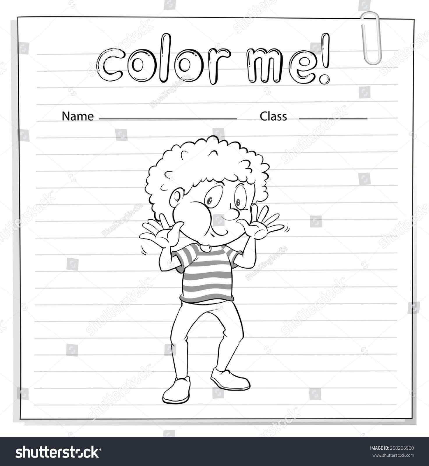 Coloring Worksheet With A Little Boy On A White Background