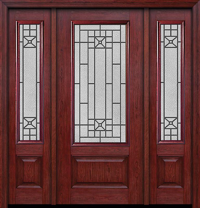Cherry 3 4 Lite 1 Panel Single Entry Door Sidelites Courtyard Glass Exterior Doors Entry Doors Doors