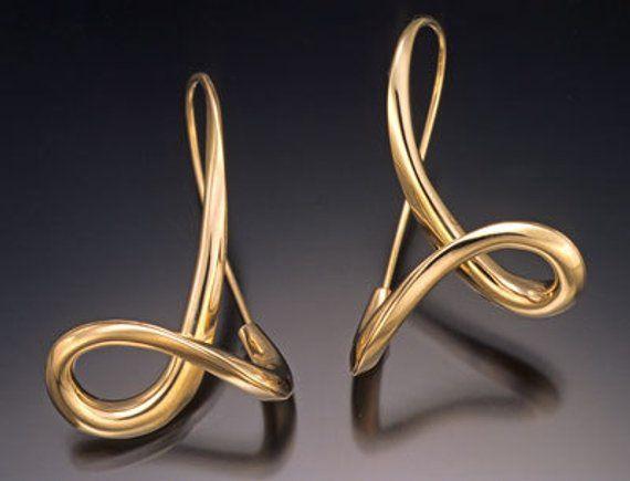14k Gold Earrings Solid Earring Contemporary