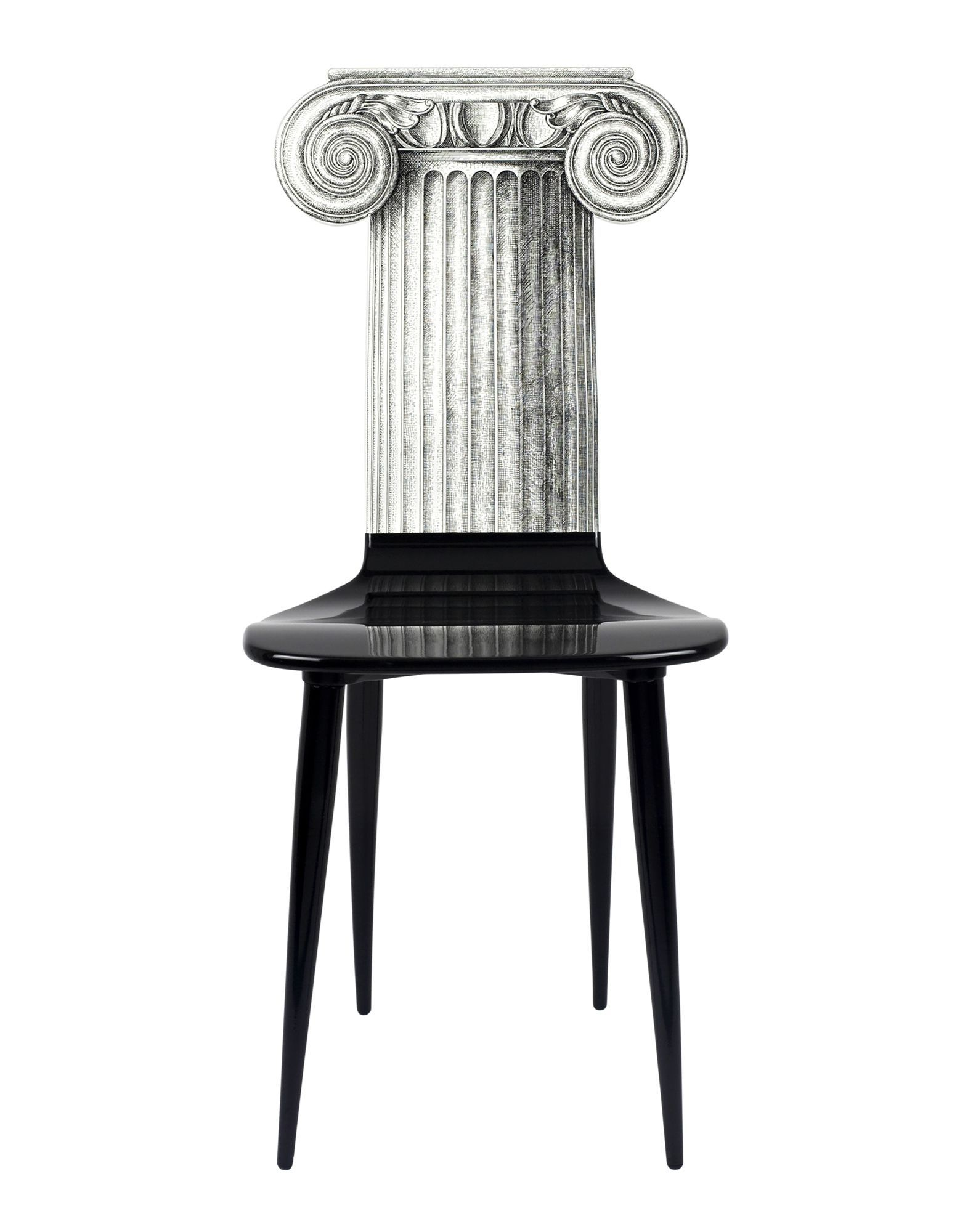 Capitello Ionico Black Wood Chair From Fornasetti Featuring A Contrasting  Grey Ancient Greek Column Design As The Back Rest And Spike Shaped Legs.
