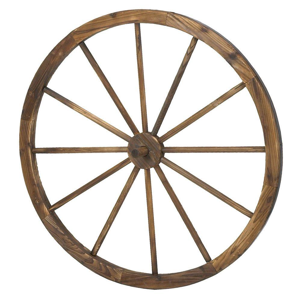 Astonica 50308203 36 Inch Decorative Old Fashioned Wooden Wagon Wheel