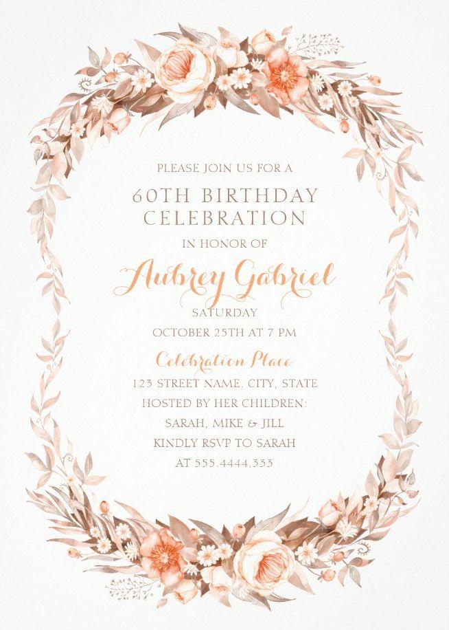 Floral Adult 60th Birthday Invitations - Elegant Fall Flowers - sample invitation wording for 60th birthday