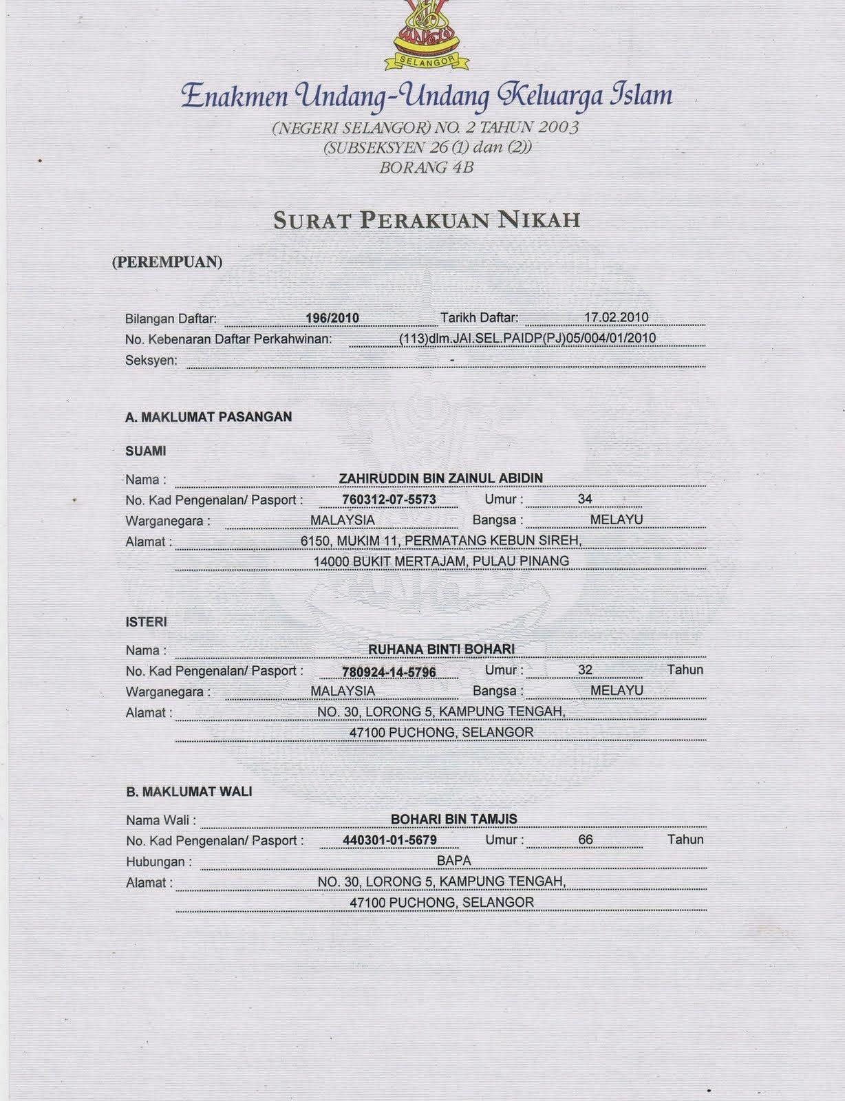 Hasil Carian Imej Untuk Sijil Kahwin Selangor Selangor Bullet