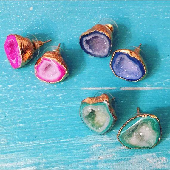Bright Geode Halve Stud Earrings // Boho by RoyalSuzieJewelry