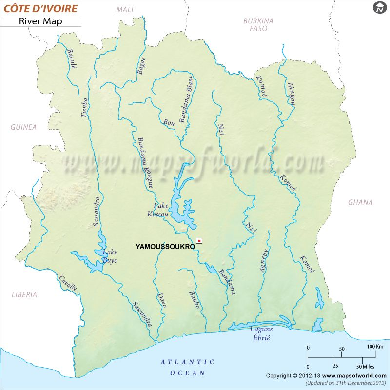 Part 1 # 1c. This is a map of Cote d\'Ivoire (Ivory Coast) River. The ...