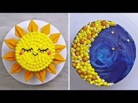 Easy Sun Cake & Moon Cake | 10 Fun & Amazing Cake Decorating Ideas for Beginners by Nyam Nyam