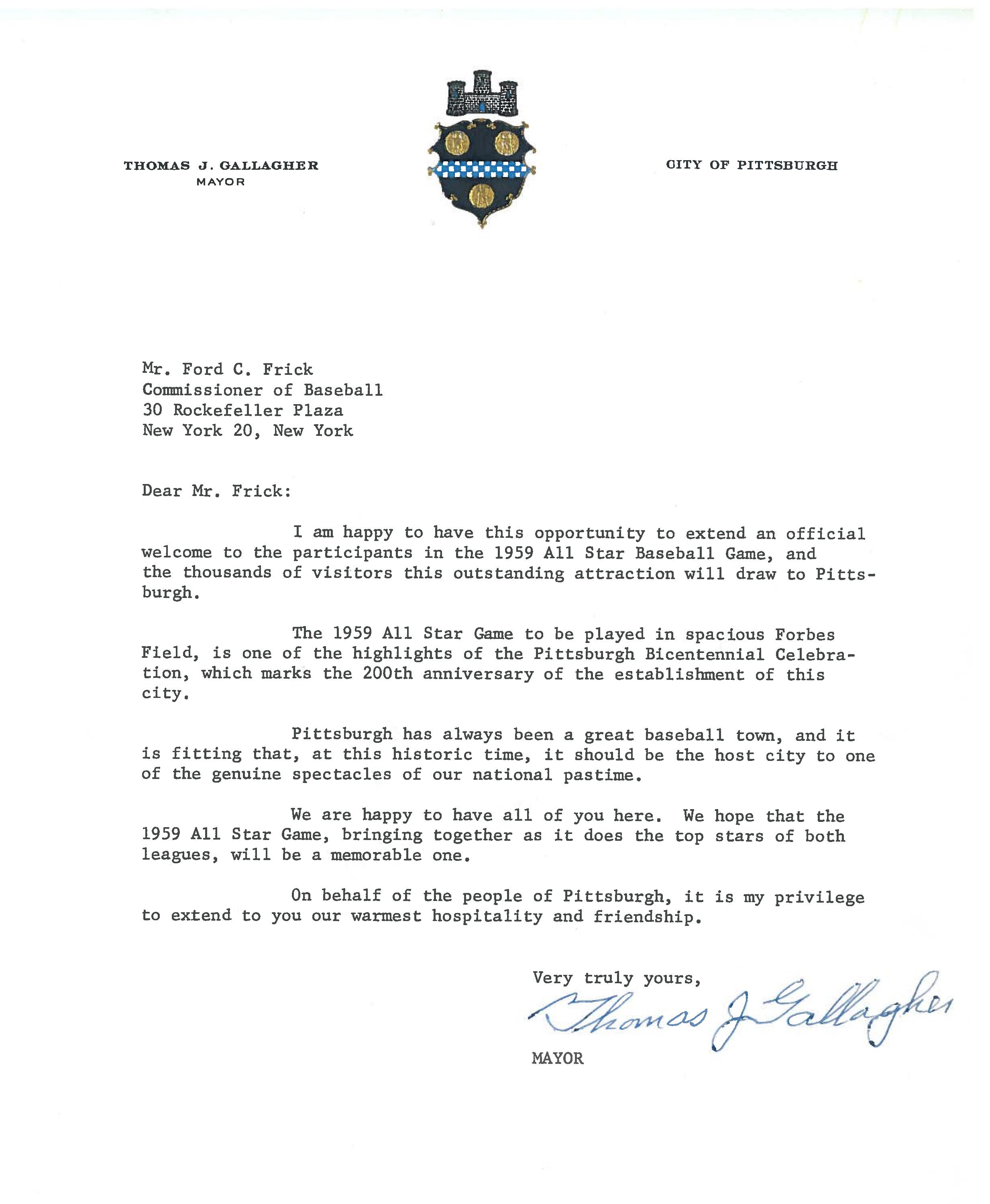 Another Tbt From The 1959 All Star Game Archives A Letter From Pittsburgh Mayor Thomas Gallagher Welcoming Commission Pittsburgh Pirates Pittsburgh Lettering