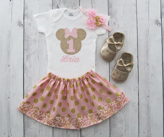 Pink and Gold Minnie Mouse First Birthday Outfit for Baby Girl