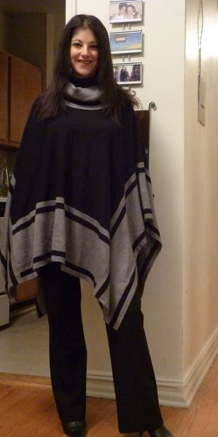 Okay, I just got this exact poncho at the thrift store last week!!!!  It is so comfy!